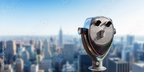 Binocular against observation deck view. Fototapet