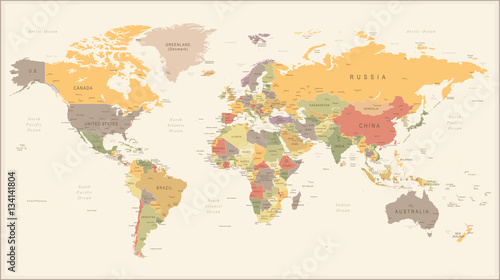 Vintage Retro World Map - illustration Tablou Canvas