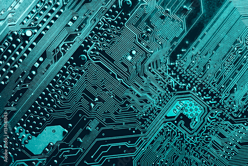 Fotografiet  blue printed circuit board, top view