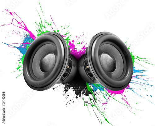 Cuadros en Lienzo Music speakers colorful design