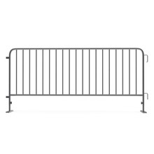 Steel Temporary Fence On White. Side View. 3D Illustration