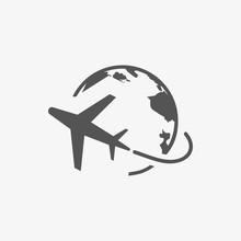 Plane Globe Icon Stock Vector ...