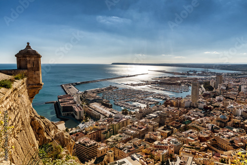 Obraz na plátne Aerial view of Alicante, Southern Spain, as seen from historic Santa Barbara Cas