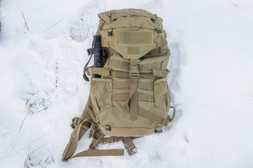 Tactical backpack with a knife.