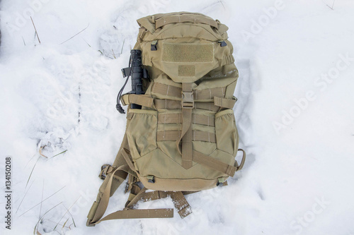 Fotografía  Tactical backpack with a knife.