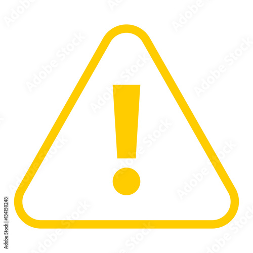 Yellow triangle exclamation mark icon warning sign attention