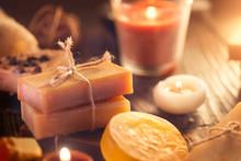 Spa. Handmade Organic Soap Closeup. Various Soap Bars And Candles