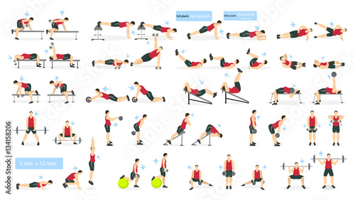 Workout Man Set Fat Doing Fitness And Yoga Exercises Lunges Squats