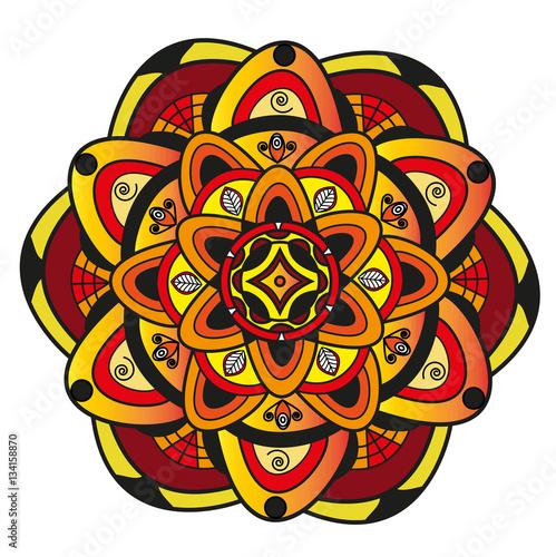 Vector Illustration Of A Colored Mandala Mandala Colorato