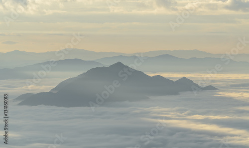 Canvas Prints Hill A view from hill of North Thailand in morning february and sunlight emanate on clouds flow