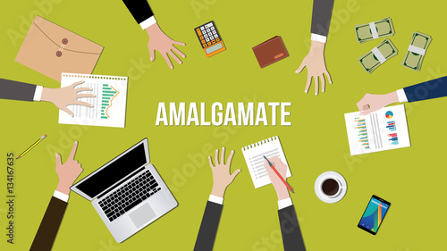 Photo Amalgamate concept illustration in a team dicussion
