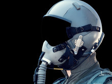 Pilot Wearing Mask And Helmet ...