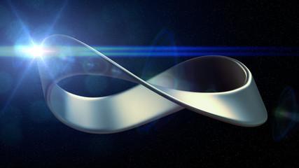 metal mobius strip in space (3d illustration)