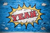 Fototapeta Młodzieżowe - Yeah Comic  Ziegelsteinmauer Graffiti