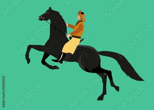 Kazakh nomad man on horse vector illustration Wallpaper Mural