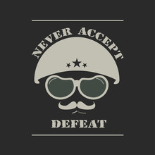 Army Helmet Emblem. Military Army Design For T-shirt