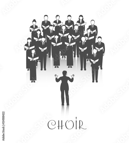 Canvastavla Choir Peroforrmance Black Image