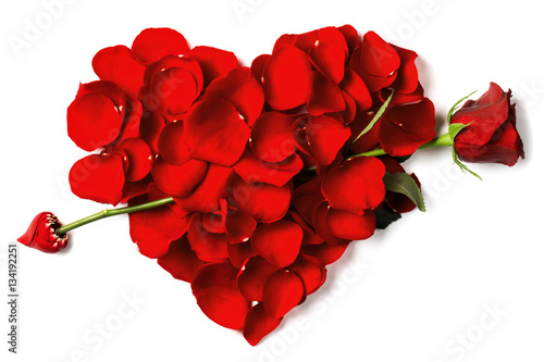 Foto op Canvas Roses Red rose petals heart