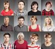 canvas print picture - Gruppe von Menschen, Porträt Collage aus zwölf einzelnen Bildern