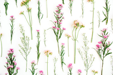 Fototapeta Przyprawy Floral pattern with pink and beige wildflowers, green leaves, branches on white background. Flat lay, top view. Valentine's background