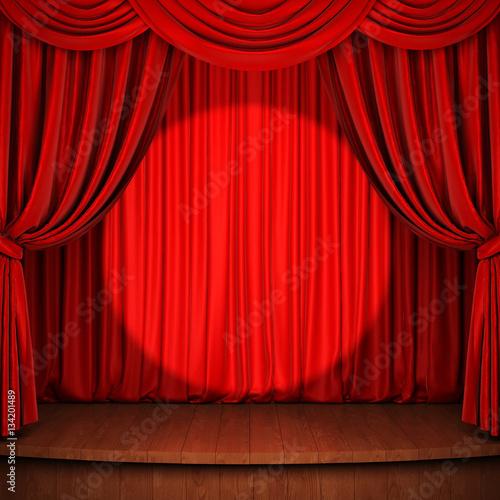 Plakat Scena z czerwoną zasłoną, drewnianą podłogą i światłem punktowym. Renderowania 3D