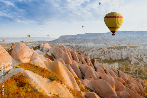 Poster Marron chocolat air balloon in Cappadocia, Turkey