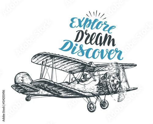 Obraz na plátne Retro biplane. Airplane sketch. Travel vector illustration