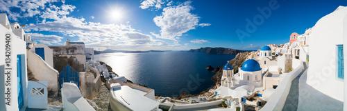 Poster Panoramafoto s Oia village panorama, view of Ia town, Santorini island, Greece