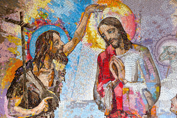 Naklejka MEDJUGORJE, BOSNIA AND HERZEGOVINA, 2016. Mosaic of the baptism of Jesus Christ by Saint John the Baptist as the first Luminous mystery.