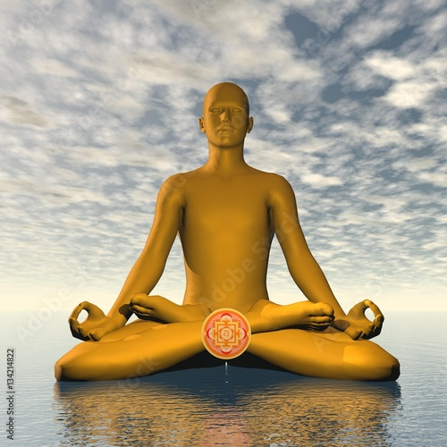 Photo  Orange svadhishthana or sacral chakra meditation - 3D render