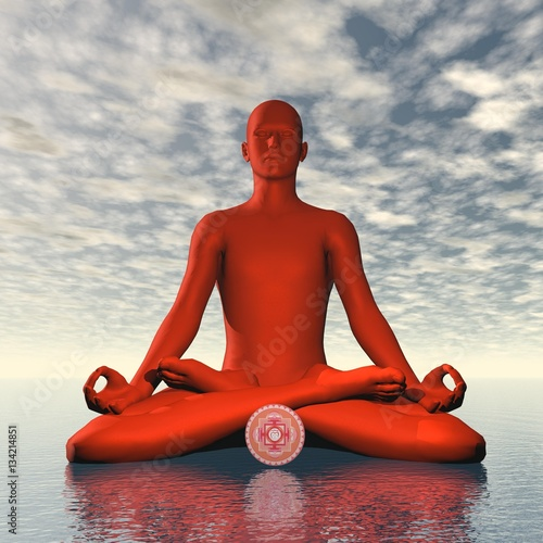 Red muladhara or root chakra meditation - 3D render Canvas Print