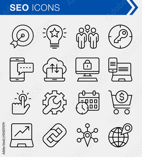 Fotografía  Set of pixel perfect search engine optimization icons for mobile apps and web design