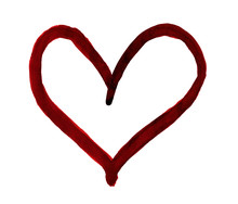 The Outline Of The Dark Red Heart Drawn With Paint On White Background