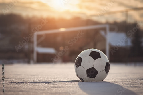 Photo  Soccer sunset at winter