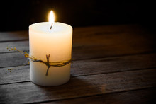 Large White Burning Candle On Aged Wood Background, Tranquility Concept, Contemplation,meditation