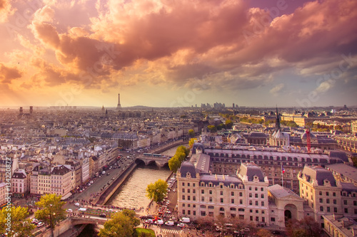 Sunset view across the city of Paris