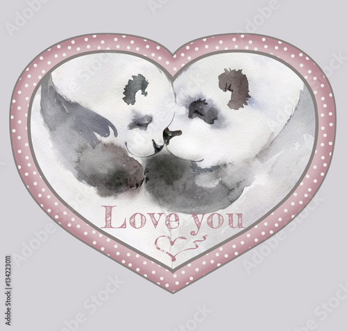 Couple of kissing pandas in heart shaped frame with the sign \