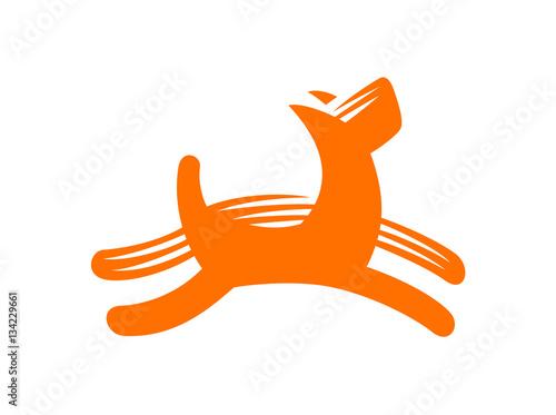Photo  Dog vector illustration, emblem on white background