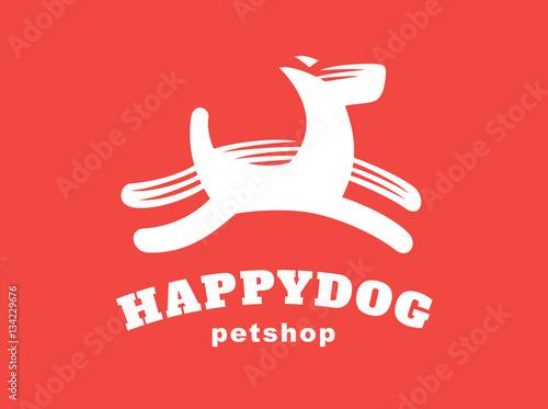 Photo  Dog logo - vector illustration, emblem on red background