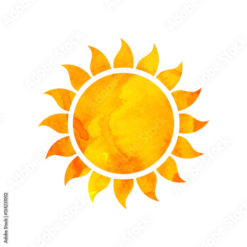 Vector Illustration of a Watercolor Sun. Summer Design. Fototapete