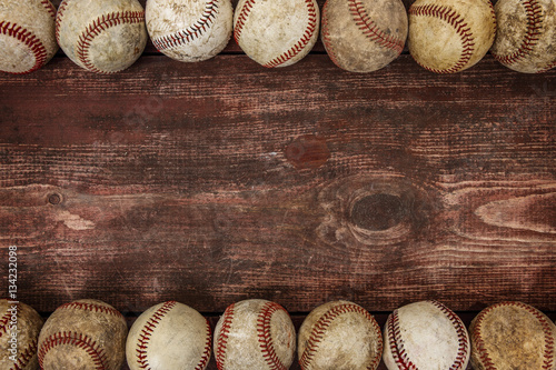 Photo  Old Vintage Baseball Background. Focus in center