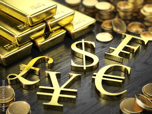 Finance, Stock exchange concept - Gold bars, coins and gold currency signs Wallpaper Mural