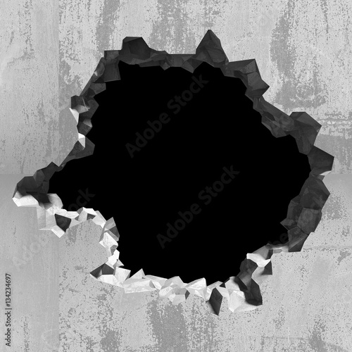 Obraz Explosion hole in concrete cracked wall. Industrial background - fototapety do salonu