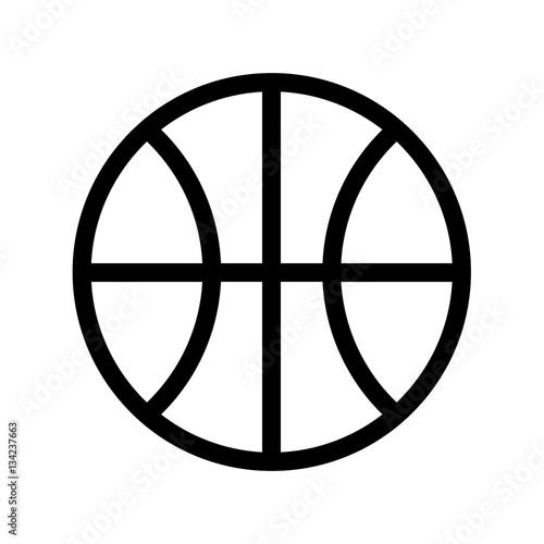 ikona linii piłka do koszykówki, znak wektor zarys, piktogram liniowy na białym tle. Symbol, ilustracja logo