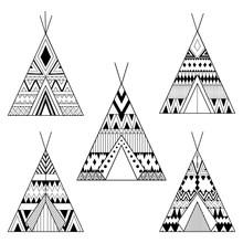 Hand Drawn American Native Wigwams Set With Ethnic Ornamental El