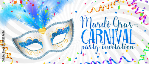Obraz White Mardi Gras banner template with blue carnival mask with feathers - fototapety do salonu