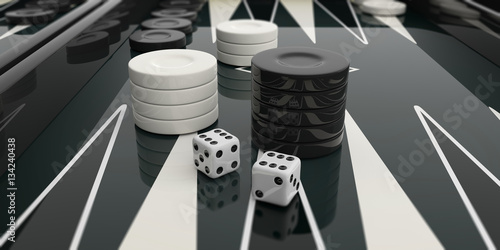 Obraz na plátne Black and white backgammon board. 3d illustration