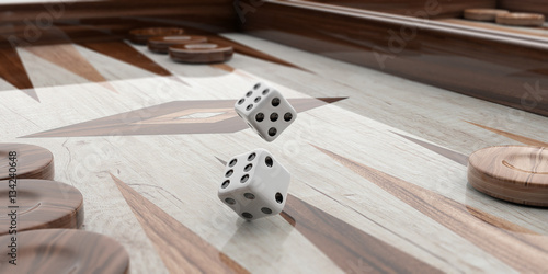 Obraz na plátně Wooden backgammon board. 3d illustration