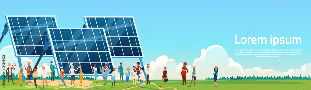 Fototapety, obrazy: Business People Group Solar Energy Panel Renewable Station Presentation Flat Vector Illustration
