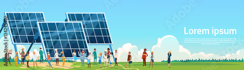 Fotografía  Business People Group Solar Energy Panel Renewable Station Presentation Flat Vec